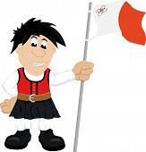 picture of maltese-cross  - Cute cartoon illustration of a boy in traditional dress of Malta holding Maltese flag in his left hand - JPG