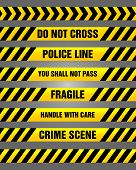 picture of crime scene  - Set of yellow police and caution tapes with various text such as  - JPG