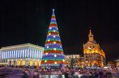 stock photo of kiev  - Christmas tree on Maidan Nezalezhnosti in Kiev Ukraine - JPG