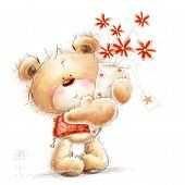 stock photo of teddy  - Cute Teddy bear with the red flowers - JPG