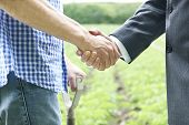 picture of farmers  - Farmer And Businessman Shaking Hands In Field - JPG