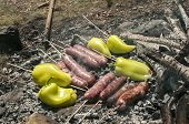 stock photo of ember  - Raw sausages and peppers preparing on hot fireplace wood embers during picnic in forest meadow - JPG