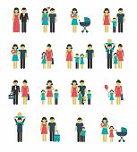 picture of married couple  - Family figures icons set of parents children married couple isolated vector illustration - JPG