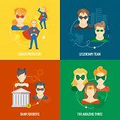 foto of amaze  - Business concept flat icons set of superhero composition with brave legendary amazing protector team infographic design elements vector illustration - JPG