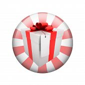foto of spherical  - Gift box with label - JPG