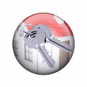 foto of spherical  - Two metal keys with house - JPG