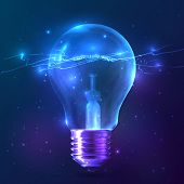 image of lightning  - Blue shining vector bulb with lightning inside - JPG
