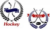 picture of ice hockey goal  - Hockey and Ice Hockey emblems or symbols with crossed sticks in a laurel wreath - JPG