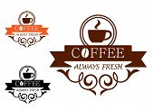 stock photo of latte coffee  - Coffee Always Fresh label with a steaming cup of coffee above the text  - JPG