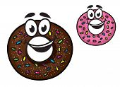 stock photo of pie-in-face  - Cute happy doughnuts with smiling faces decorated with colorful sprinkles in chocolate and pink icing - JPG