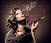 picture of finger  - Beauty Retro Woman with Mouthpiece - JPG