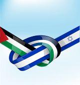 pic of israeli flag  - palestine and israel ribbon flag on sky background - JPG