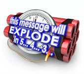 stock photo of time-bomb  - This Message Will Explode in 5 seconds words time bomb countdown deadline - JPG