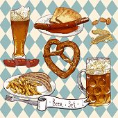 stock photo of pretzels  - Beer Set - JPG