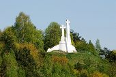 picture of cross hill  - The Hill of Three Crosses in Vilnius seen from Gediminas hill - JPG