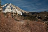 pic of dike  - West Spanish Peak and several of the nearly 500 volcanic radial dikes surrounding the Spanish Peaks in southern Colorado USA - JPG