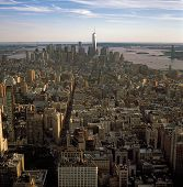 picture of empire state building  - Aerial view of New York City at sunset from the Empire State Building - JPG
