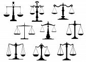 foto of tribunal  - Black law scale icons with balance position isolated on white background - JPG
