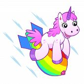 picture of bomb  - Pink cheerful unicorn flying on the rainbow bomb - JPG
