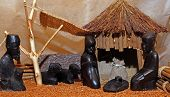 picture of nativity scene  - Nativity scene with Holy Family in a manger African Style - JPG
