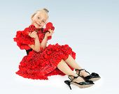 picture of castanets  - little girl in her mother - JPG