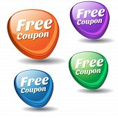 image of coupon  - Free Coupon Colorful Vector Icon Design Set - JPG