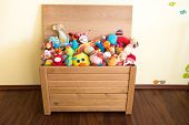 stock photo of girl toy  - Toy Box full of soft toys in a child - JPG