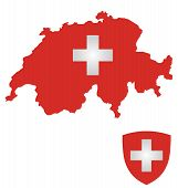 foto of confederation  - Flag and coat of arms of the Swiss Confederation overlaid on outline map isolated on white background - JPG