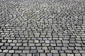 image of paving  - Paving stones street close up gray background - JPG
