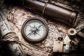 pic of spyglass  - vintage  still life with compass - JPG