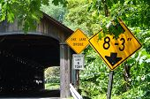 image of covered bridge  - A wooden covered bridge in New England - JPG