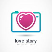 picture of  photo  - Abstract colorful photo camera with heart lens - JPG