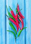 image of chillies  - chilli pepper on the blue background fresh chilli pepper - JPG