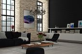 image of lounge room  - Attractive Elegant Modern Architectural Lounge Room with Black and White Furniture - JPG
