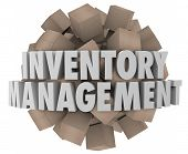 picture of logistics  - Inventory Management words in white 3d letters on a ball or sphere of cardboard boxes representing merchandise or stock in a logistics chain for a business or company - JPG