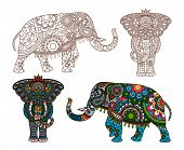 stock photo of indian elephant  - Vector decorated Indian Elephant silhouette and colored - JPG