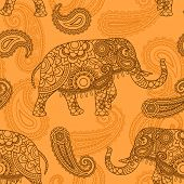 stock photo of indian  - Indian elephant seamless pattern in Indian style vector background - JPG