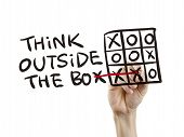 picture of thinking outside box  - think outside the box written by hand on a transparent board - JPG