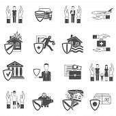 pic of fire insurance  - Insurance hand and shield black and white flat icon set isolated vector illustration - JPG