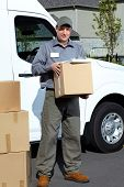 pic of postman  - Postman with parcel box - JPG