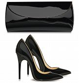 picture of black heel  - Pair of black patent leather female high - JPG
