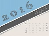 pic of august calendar  - Simplistic 2016 calendar design for august month - JPG