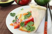 picture of glass noodles  - Rice paper stuffed with glass noodles carrots peppers and cilantro - JPG