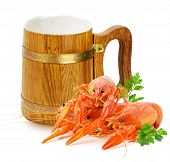 stock photo of lobster tail  - wooden mug with beer and red lobsters isolated on a white background - JPG