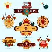 stock photo of firefighter  - Firefighter volunteers and professional department emblems set isolated vector illustration - JPG