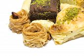 image of baklava  - View at the Turkish baklava on a white background - JPG