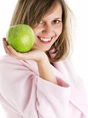 picture of housecoat  - Woman in housecoat with apple isolated on white background - JPG