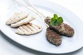 stock photo of pita  - mutton kebab with mint and pita bread - JPG