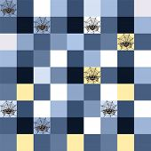 picture of cobweb  - Seamless blue mosaic with spider motif and cobweb - JPG