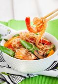 foto of glass noodles  - Rice glass (cellophane) noodles with shrimps and vegetables in white bowl